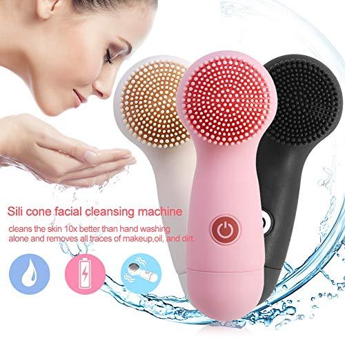 Gesichtsreinigungsbürste aus Silikon, Reinigungsbürste Gesicht Elektrische Haut Vibration Negative Ionen Tiefe Gesichtsreinigung Peeling Hautpflege, porentiefe Reinigung für jeden Hauttyp(Rosa)