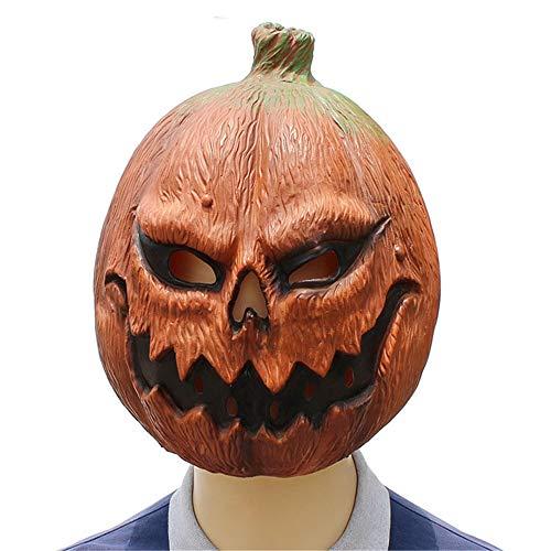 KLJJQAQ Halloween Kürbis Kopf Maske Horror Lustiges Gesicht Latex Dance Party Kleid Spielt Dekoration Cos Ghost Festival Requisiten