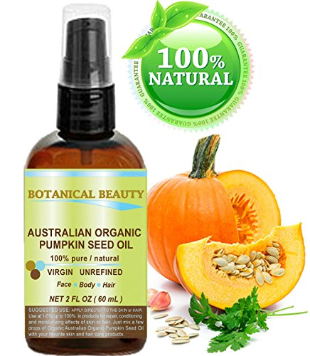 ORGANIC PUMPKIN SEED OIL Australian. 100% Pure / Natural / Undiluted /Unrefined Cold Pressed Carrier Oil. 2 Fl.oz.- 60 ml. For Skin, Hair, Lip And Nail Care.
