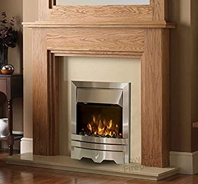 Electric Oak Wood Surround Cream Marble Stone Back Panel & Hearth Modern Silver 2kW Pebble Fire Fireplace Suite Large