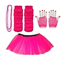 Blue Planet Online - Child 4-7 Neon Tutu, Short Fishnet Gloves, Legwarmers & Beads Necklace (Neon Pink)