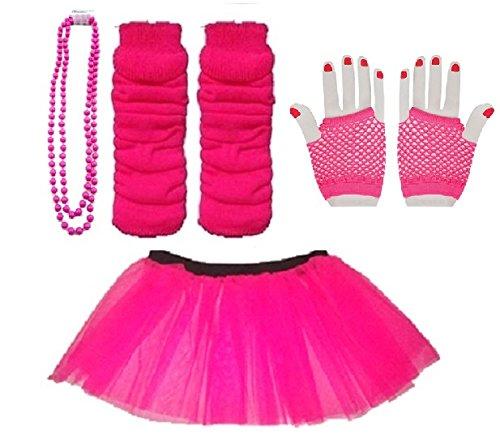 Blue Planet Online Tanzkostüm / Tutu, für Kinder von 4 bis 7 Jahren, inkl. kurze Netzstoffhandschuhe, Beinstulpen und Perlenkette