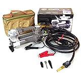 Tragbarer Kompressor Autoluftpumpe 12V Elektrokompressor mit LED-Licht, mit drei Adaptern für Auto, Fahrrad und aufblasbare Kugeln etc