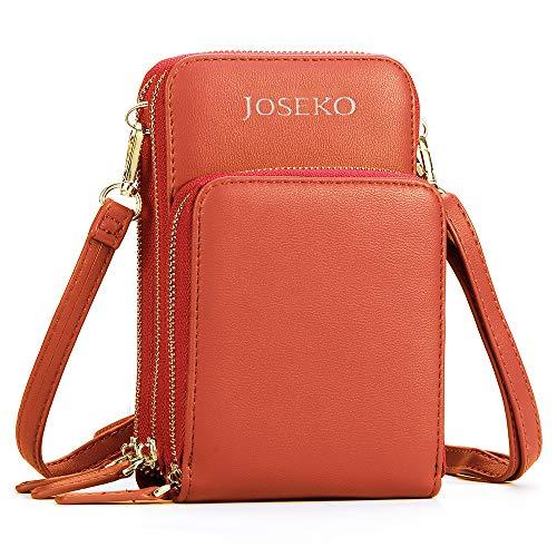 JOSEKO Crossbody Tasche, Damen Solide PU Leder Kupplungtasche Kartentasche Handytasche Umhängetasche (Dunkelorange) Orange Multi Leder