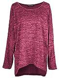 Emma & Giovanni - Pullover - T-Shirt Loose Fit (Oversize) - Damen (XL/XXL, Bordeaux)