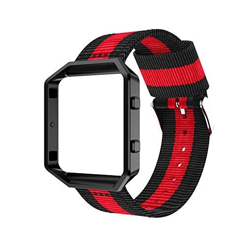 Fitbit Blaze Armband, OverDose Feingewebtes Nylon verstellbares Ersatzband Sportband + Kofferabdeckung für Fitbit Blaze (D)