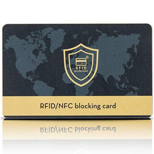 Carta Di Blocco RFID/NFC [1 pezzo Più 1 Gratis] - Per Carte Di Credito Contactless, Bancomat, Carte Aziendali, Pasaporto - Protezione RFID/NFC Per Portafoglio Uomo e Donna