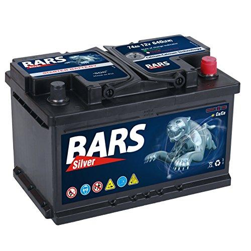 Bars Silver Autobatterie 12V 74Ah 640A Starterbatterie Wartungsfrei