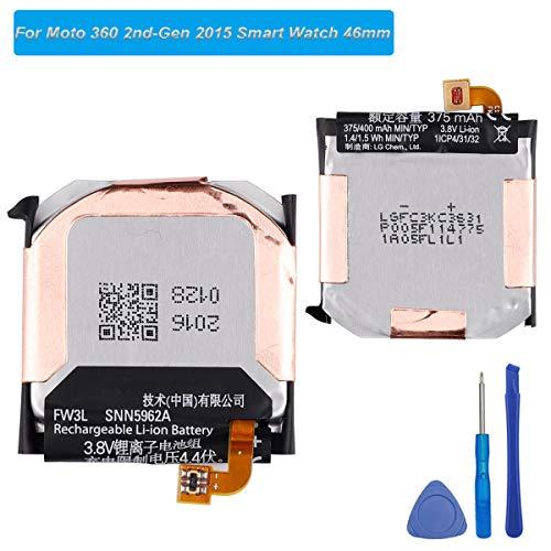 E-yiviil - Batteria di ricambio FW3L compatibile con Moto 360 2nd-Gen 2015 Smart Watch 46 mm SNN5962A con strument