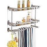 JTWJ Badregal aus Edelstahl Handtuchhalter aus Edelstahl Doppel-Ablagefach zur Wandmontage WC-Wäscheständer Duschständer mit Handtuchhalter mit Haken (größe : 50cm)