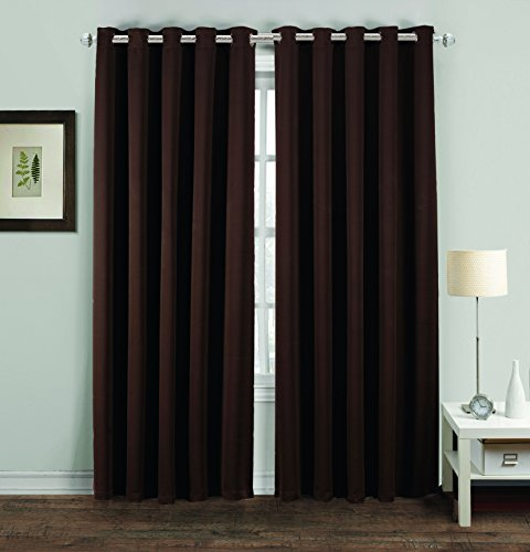 Thermal Blackout Supersoft Curtain Pair Eyelet Ring Top Draught Free Insulated (66″ x 90″, Chocolate)