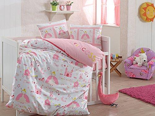2 tlg. Renforce Baumwolle Kinderbettwäsche Baby Bettwäsche 100x135 cm Princess Rosa