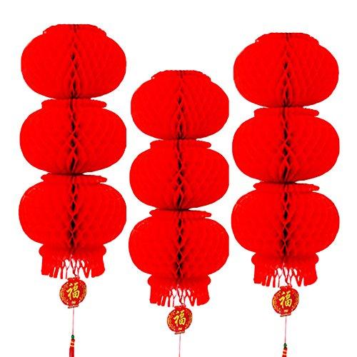 Rote Laterne Festival Dekoration für Hochzeit, New Jahr, Chinese Spring Festival, Set 10Stück. Rot