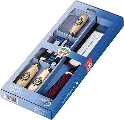 KIRSCHEN Stechbeitelsatz 1195 SB, 10,20,26mm Japansäge, Weißbuchenheft, 4-teilig