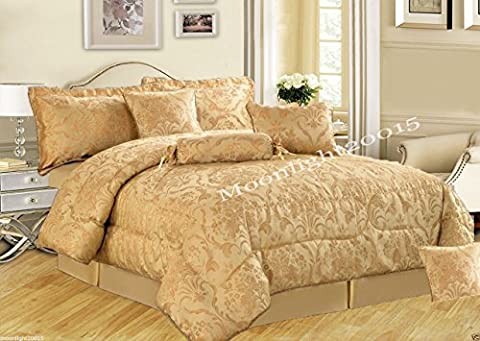 Bedspread 7 Piece Comforter set Bedding set jacquard Bed Set with Matching Valance sheet & Cushion (Double, Ruby