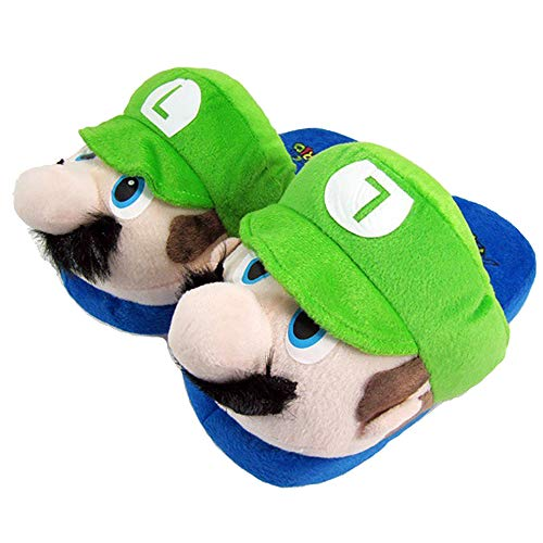 Super Mario & Luigi Plush House Shoes - Cuddly Warm for Home - Funny Slippers for Adults & Kids - Unisex Size 36-45