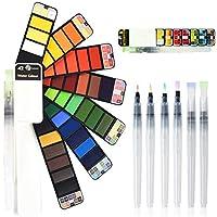 Juego de Pintura de Acuarela 42 Colores con 6 Piezas Juego de Pincel de Acuarela Set de Pintura de Acuarela sólida portatiles para artículos de Arte