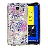 HopMore Glitzer Silikon Handy Hülle für Samsung Galaxy J6 2018 Hülle 3D Flüssig Transparent Muster Kreativ Lustig Schutzhülle Durchsichtig Handyhülle Stoßfest Silikonhülle Case Cover - Löwenzahn