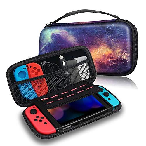 Fintie Tasche für Nintendo Switch - Tragetasche Aufbewahrungstasche Transporttasche mit 10 Spielkartenhaltern und Haltegurt für die Nintendo Switch Konsole Joy-Con & Accessoires, Die Galaxie