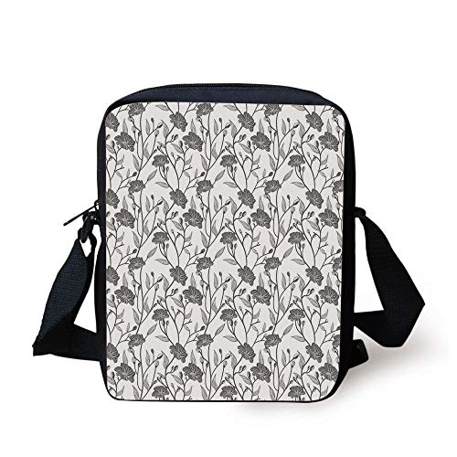 Grey,Modern Graphic of Flowers and Branches Simple Pure Light Patterns Chic Boho Art Deco Home,Gray White Print Kids Crossbody Messenger Bag Purse -