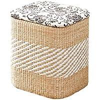 Taburetes de almacenamiento tejidos de Pucao cambian los taburetes taburetes de almacenamiento se pueden sentar con tapas de acabado taburete de almacenamiento taburete otomano multi-estilo opcional m