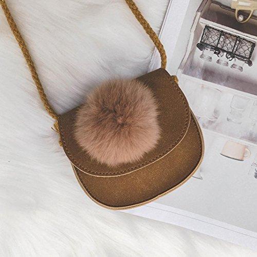 BZLine® Kinder Grils niedlich Hairball Leder Handtasche Umhängetasche Mini Crossbody Tasche Braun