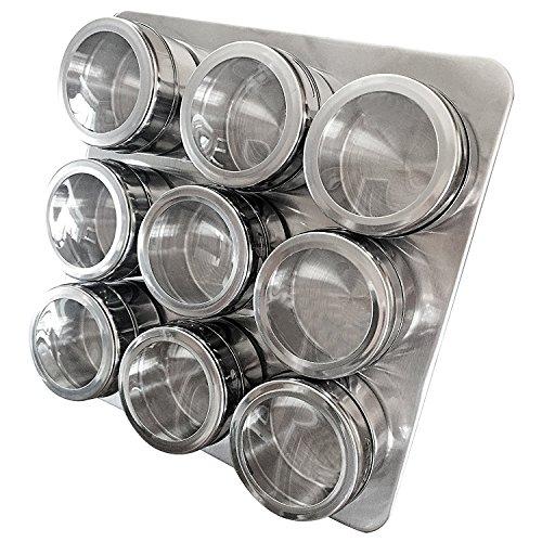 Set di portaspezie intergalattico con barattoli magnetici, supporto e supporto a parete di uncluttered designs (9 pezzi)