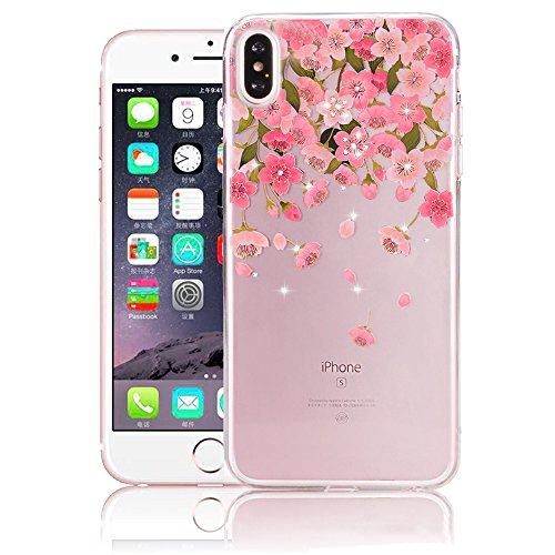 Cover the iPhone X Ultra Slim, Custodia per iPhone X, Bonice Ultra Slim Diamante Bling Glitter Lusso Cristallo Strass Morbida Rubber Bumper 360 Gradi TPU Gel Silicone Morbido Corona Case Cover e Cingh Model 12