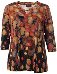 Sempre Piu Shirt Tunika rot Damen 3//4 Arm Frauenmotiv Pailletten Übergrösse