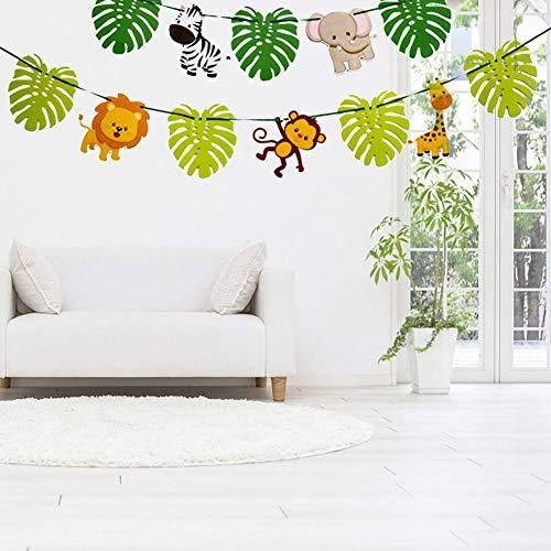 Falliback Bunting Banner 3M Papier New Cartoon Tier Dschungel Thema Bunting Weihnachtspapier hängen Dekor Jahr-Feiertags-Party Kindergarten Schlafzimmer Dekoration Zubehör Grün