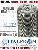 ITALFROM 25 mt Rotolo Rete Metallica Mini Zincata Maglia:mm19X19 Filo:mm1,4 H 100 cm Cod.2406