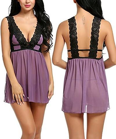 Avidlove Women Lace Babydoll Backless Dress Sexy Lingerie Set Nightwear