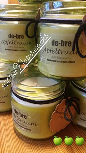 Duftkerze aus Öko Rapswachs/Apfeltraum/vegan/ca 150gr -