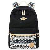 Dannylona mochila Vintage colorida banda escuela para jóvenes adolescentes y niñas ligero lindo impermeable Casual mochila tiene 14 pulgadas Laptop escuela bolso mochila Negro
