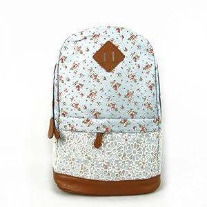 Patr¨®n Japan Small Floral de moda unisex con el bolso del dise?o del cord¨®n doble Mochila Escolar hombro la bolsa de asas linda estupenda raya College School Laptop Bag Para Adolescentes Chicas Chicos Estudiantes – Blue Sky