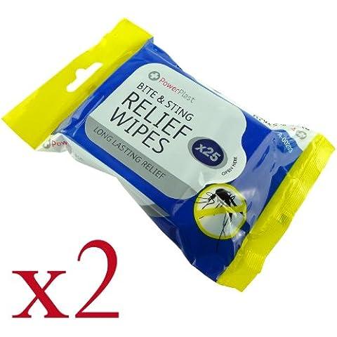 25 picaduras y morder alivio toallitas, Pack de 2