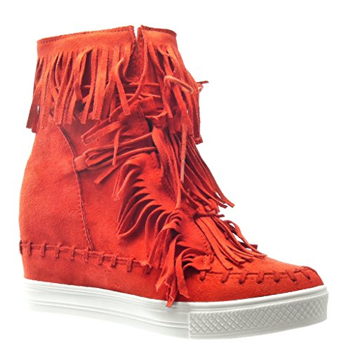 Angkorly – damen Schuhe Sneaker Keilabsatz – Franse – Bommel Keilabsatz high heel 8 CM – Rot
