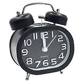 EASEHOME Retro Reloj Despertador Analógico de Cuarzo, 3' Doble Campanas Despertadores Silencioso Vintage Relojes de Mesita Sin Tictac con Luz de Noche y Fuerte Alarma para Niños Adultos, Negro