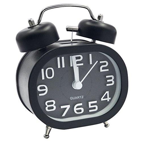 EASEHOME Wecker Analog Doppelglockenwecker, Neuheit Glockenwecker Kein Ticken Geräuschlos Quarzwecker 3 Zoll Analoge Wecker Batterie Reisewecker Laut Alarm Kinderwecker mit Nachtlicht, Schwarz