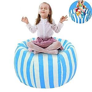 UMYMAYDO1 38″ Stofftier Kuscheltiere Aufbewahrung Aufbewahrungstasche Sitzsack Kinder Soft Pouch Stoff Stuhl (Blue)