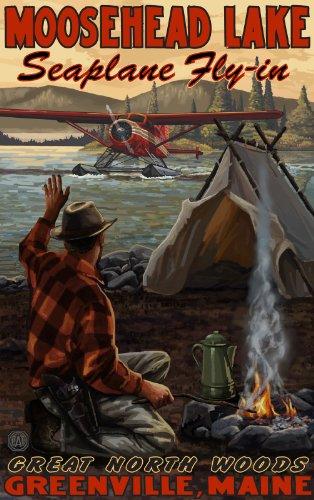 Northwest Art Mall Moosehead Lake Seaplane Fly-in Great North Woods Greenville, Maine, Wandschmuck von Paul A Lanquist, 28 x 43 cm