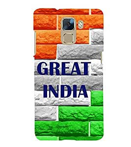 printtech Great India Back Case Cover for Huawei Honor 7