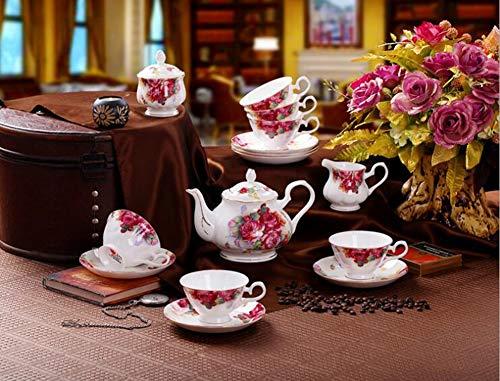 GAOXIAOMEI 15 Skull Porcelain English Tea Set Keramik-Kaffee Englisches Schwarzwald-Holzjahr altes...