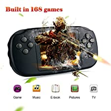 "Game Console XinXu Handheld Games Consoles with 168 Games 2.8"" LCD PVP Retro Game Player Gift for Kids Children (Black)"