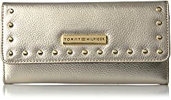 Tommy Hilfiger Th Stud Large Flap Wallet, Gold, One Size