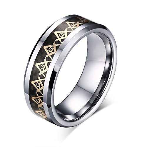 8mm Masonic Freemason Tungsten Carbide Inlay Wedding Band Ring For Men Beveled Polished Edge Comfort Fit (gold(tungsten), 7)