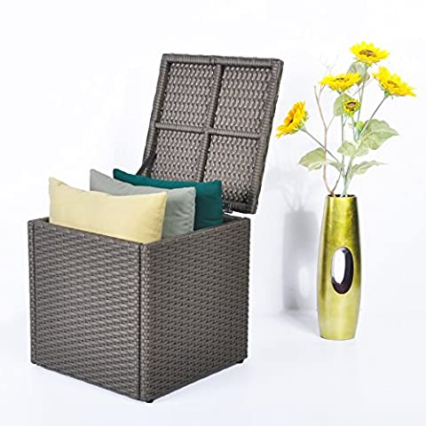 Outdoor Patio Resin Wicker Deck Box Storage Container Bench Seat, 21 Gallon, Anti Rust Aluminum Frame, All Weather Resistant (17.7'' * 17.72'' * 17.72'',