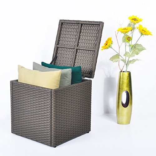 Outdoor Patio Resin Wicker Deck Box Lagerung Container Bank Sitz, 21 Gallone, Anti Rust Aluminium Rahmen, All Weather Resistant (17,7 '' 17,72 '' 17,72 '', Kastanie) (17,7 '' * 17,72 ''...