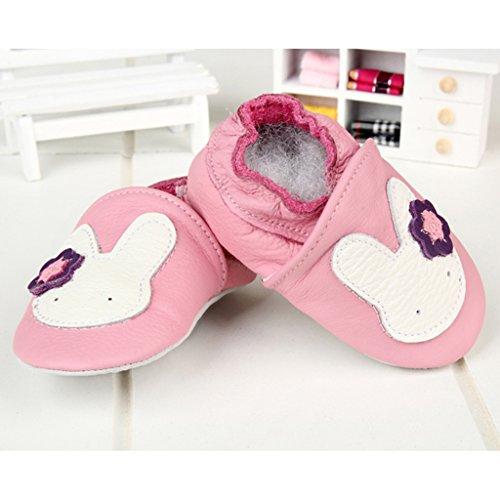 GWELL Weiche Leder Babyschuhe Lauflernschuhe Krabbelschuhe Lederpuschen für Mädchen Jungen 6-12 Monate Art-A B