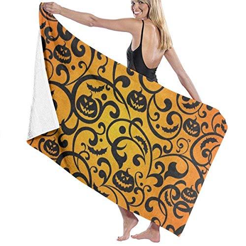xcvgcxcvasda Serviette de bain, Halloween Damask Pumpkin Personalized Custom Women Men Quick Dry Lightweight Beach & Bath Blanket Great for Beach Trips, Pool, Swimming and Camping 31